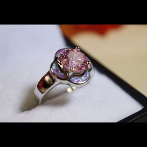 Gorgeous 925 Sterling Silver Pink Opal Ring!
